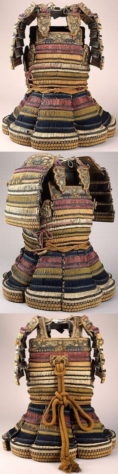 Dō-maru, circa 1550, iron, lacquer, leather, silk, gilt copper, wt. 23 lb. 9 oz. (10.7 kg), this armor is believed to have been given by Date Masamune (died 1636), one of the most famous daimyo (lords) of his time, to a high-ranking samurai in his service, Shiraishi Bungo, gift of Bashford Dean 1914, Met Museum.