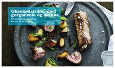 Oksekødsruller med gorgonzola og skinke