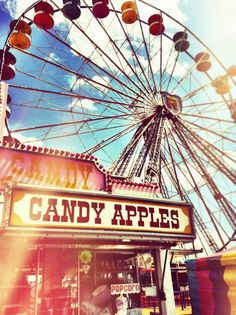 ferris wheel and candy apple stand