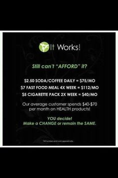 It Works Global and the It Works body wrap.  Get on the crazy train with that crazy wrap thing. It has worked for me and it could work for you. Contact me at renewalbeth.myitworks.com. Check it out, host a party and wrap for free, sign up as a loyal customer and save, or join my team and make some extra cash I can help you get your sexy back! This product can not be found in stores and it really does work. It Works! Global is changing people's lives everyday!