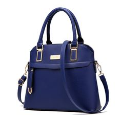 """H.Tavel Womens Top Handle Shell Shape Medium Tote Purse Handbag Convertible Satchel,Blue. Material: High quality Soft PU Leather;Luxury Style. Double handles with a drop length of 5.5 inches,come along with a removeable adjusted shoulder handles. Good light gold plated hardware. Size :11.2""""X10.3""""X4.7""""(L*H*W),Srtap :5.5"""". Elegant urban style, perfect for using in office, Dating ,party and other daily occasions."""