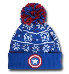 Captain America Symbol Knit Pom Pom Beanie