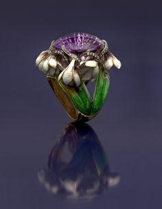 18K gold, diamonds, amethyst, enamel ring by Ilgiz F.