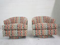 Bon Vintage Barrel Swivel Chairs Upholstered In Jim Thompson Fabric...pretty  Fabulous!