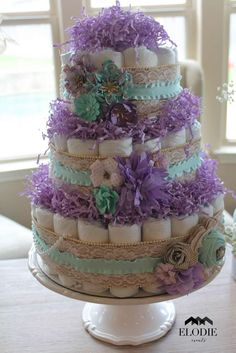 Shabby chic baby shower party diaper cake! See more party ideas at CatchMyParty.com!
