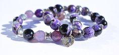 Boho Bracelet Set, Agate Bracelets, Gemstone Bracelets, Stacking Bracelets, Stretch Bracelets, Purple Beaded Bracelets, Healing Bracelets by LexiLeeRocks on Etsy https://www.etsy.com/listing/271601942/boho-bracelet-set-agate-bracelets
