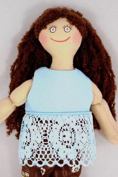 Brown Haired Girl Doll  Kids Doll  Toy  Handmade Cloth Doll