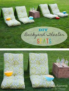 Backyard Theater Seats: Perfect for when the kids come home. They love watching home movies. Also would be great for a girls night out!