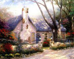 Thomas Kinkade Morning Glory Cottage