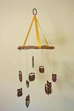Check out this item in my Etsy shop https://www.etsy.com/listing/448863940/wooden-owl-nursery-mobile-with-yellow https://www.facebook.com/nightjasmineartistry