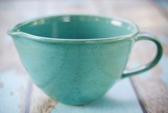 Handled Mixing Bowl with pouring spout-- all Handcrafted and thrown on the potters wheel.