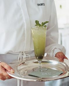 Guests were served bootlegs, one of the couple's favorite drinks, a mixture of fresh mint, lemonade, limeade, vodka or gin, and club soda.