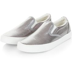 Pewter Shimmer Slip On Plimsolls ($26) ❤ liked on Polyvore featuring shoes, sneakers, slip on sneakers, pull on sneakers, slip on trainers, pewter shoes and canvas slip on sneakers