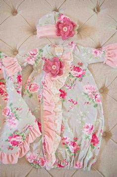 Infant Baby Layette Pink Damask Gown with Chiffon Flowers ...