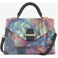 Ted Baker Small Technicolour Bloom Tote Bag ($185) ❤ liked on Polyvore featuring bags, handbags, tote bags, black, floral purse, top handle tote, zip tote and black tote