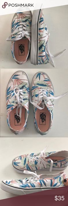 the latest 6d03b 64b3e Tropical leaves white vans Only worn twice but practically brand new. Not  sold on the
