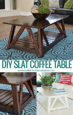 Build this DIY slat coffee table this weekend, inspired by the Ethan Allen version found in the HGTV 2016 Dream Home. Free plans from Hertoolbelt on Remodelaholic.com