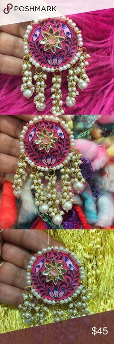 Hot Pink Chandballi. Light weight Chandballi . Jewelry Earrings