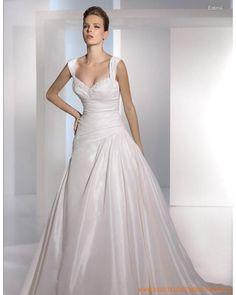 Guenstige Brautmode aus Taft Herzausschnitt und geraffter A-Linie Rock mit Kapelleschleppe