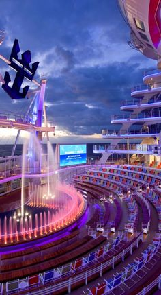 Royal Caribbean Allure of the Seas AquaTheater. Huge ship features many types of entertainment.