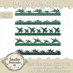 Jet Fighter Borders Set, Set Bordas Jato F-18, Avião de Guerra, Planes, Airplane, War, Caça, Militar, Military, Corte Regular, Regular Cut, Silhouette, DXF, SVG, PNG