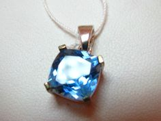 4 Ct Cushion Cut Blue Topaz Pendant Sterling Silver | eBay