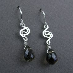 Wire Jewelry Free Patterns | YOJ10-08 Celtic Spiral Smoky Quartz Earrings