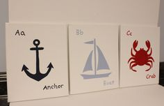 Anchor+boat+and+crab+nautical+nursery+decor+by+JessieAnnCreations,+$42.00