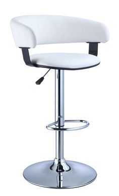 White Faux Leather Barrel and Chrome Adjustable Height Bar Stool - Powell Furniture - - Bar Stools - Bar / Pub Table Seat Height (approx. Adjustable Bar Stools, Swivel Bar Stools, Bar Chairs, Counter Stools, Dining Chairs, High Chairs, Eames Chairs, Kitchen Chairs, Swivel Chair