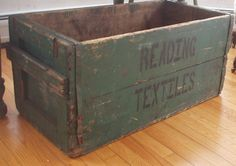 Fabulous Antique Textile Box Awesome Old Paint, Lettering Big Size Aafa Nr