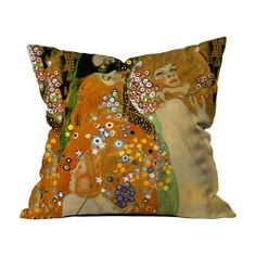 Gustav Klimt - Su Yılanları 2 Kırlent Gustav Klimt, Throw Pillows, Toss Pillows, Decorative Pillows, Decor Pillows, Scatter Cushions