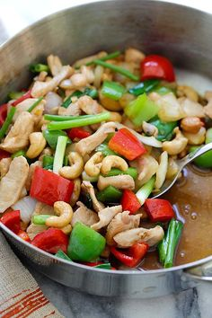 Thai Cashew Chicken - best Thai chicken stir-fry with cashew nuts and bell peppers. So easy to make, takes 20 mins and much better than restaurants   rasamalaysia.com