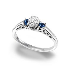 This elegantly designed diamond and sapphire ring from Cambridge is the perfect gift for an anniversary, special occasion, or a promise ring. Crafted from sterling silver with a high polish finish and