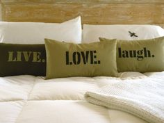 Love Pillow Cover in Khaki by bpoetichome   Use colors of the room and make my own.
