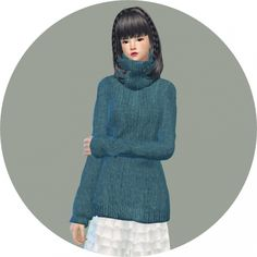 Tight turtleneck long sweater at Marigold via Sims 4 Updates