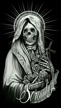This Pin was discovered by Skull Tastic. Chicano Tattoos, Skull Tattoos, Body Art Tattoos, Sleeve Tattoos, Arte Cholo, Cholo Art, Dark Fantasy Art, Dark Art, La Santa Muerte Tattoo