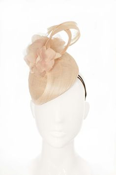 Bonnie Evelyn Milliner, Small Blush Pink Cocktail Hat with silk flowers - Rose Quartz- Spring Racing 2016…