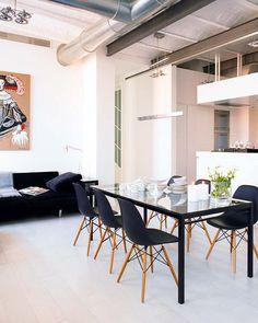 Carlos Serra Valencia home black white dining room loft Eames black chairs