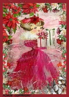 Sweet Victorian Christmas Fabric Girl Quilt by mermaidfabricshop