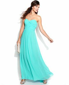 Xscape Strapless Ruched Cutout Gown - Juniors Prom Dresses - Macy's