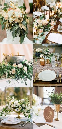 popular greenery and noble gold wedding color combos