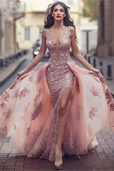 V-neck Amazing Pink Formal Dress Over skirt Front Appliques Slit Tulle Lace Evening Dress#prom #fashion #mermaid #dress #dressbarn #promdress #okdressesy #style #love #elegant #promgown #promdresses #style #events #evening #eveningwear #party #partyideas #rhinestones #gowns #bridesmaid #lace #lacedress
