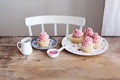 Blondie cupcakes with raspberry buttercream by Call me cupcake, via Flickr