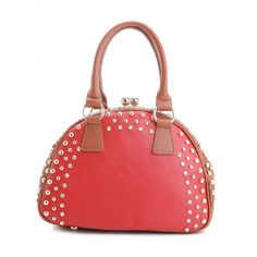 A  red bag which is stylish and great to travel with.  This is a clutch handbag which is perfect to carry essential needs whilst traveling. It's also stylish as it has gold studs around it, which makes the bag look more extraordinary. Also below the golden studs is a row of diamond-like gems.  On the outside, there is a zip pocket to place something you need to take out all the time, the zip pocket is made to make it convenient for you instead of rustling through your handbag all the time.