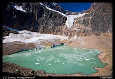 Mt, Edith Cavall, hanging glacier and glacial pond.