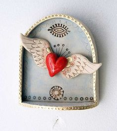 Winged Heart Shrine by jolucksted on Etsy Clay Projects, Clay Crafts, Arts And Crafts, Yoga Studio Design, Tin Art, Paperclay, Assemblage Art, Mexican Folk Art, Sacred Heart