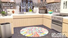 simkea:  Round Rug Set [Base Game Recolour]Here are some fun round rugs to brighten up your sim's homes. There are 16 swatches available including some cute Anthropologie designs.____________________________________________________________> DownloadDropboxAs per usual, don't claim as your own or reupload to any other sites. Patterns were found off Pinterest and Anthropologie.