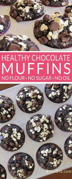 Healthy Men Healthy Chocolate Oatmeal Muffins Recipe - No Flour, Sugar Free, Oil Free Healthy Chocolate Oatmeal Muffins Recipe Chocolate Oatmeal Muffins Recipe, Chocolate Chip Oatmeal, Baked Oatmeal Muffins, Oatmeal Yogurt, Cocoa Chocolate, Oatmeal Recipes, Muffins Double Chocolat, Muffins Sans Gluten, Sugar Free Muffins