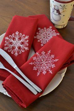 christmas dinner napkins elegant lace snowflakes large red 21x21 restaurant quality cloth napkins optional personalization - Christmas Napkins Cloth