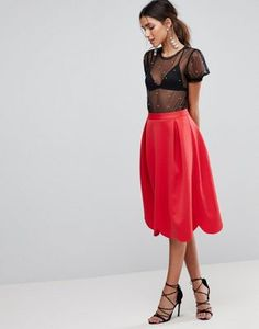 f0c12ec165589a ASOS Scuba Prom Skirt with Scallop Hem Scalloped Skirt